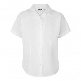 Fitted Short Sleeve, Non Iron Revere Collar Blouse - Twin Pack