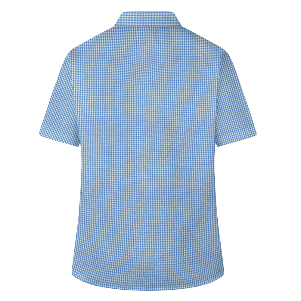 Checked Short Sleeve, Non Iron Revere Collar Blouse - Twin Pack (MTO)