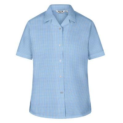 Checked Short Sleeve, Non Iron Revere Collar Blous