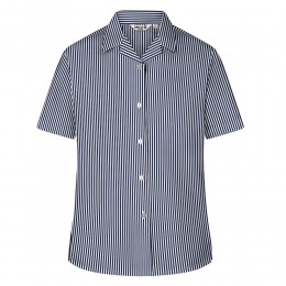 Printed Stripe Short Sleeve, Non Iron Revere Collar Blouse - Twin Pack (MTO)